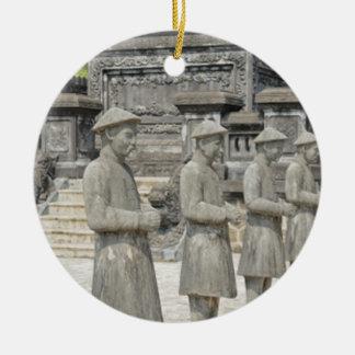 Stone Tomb Statues Round Ceramic Ornament