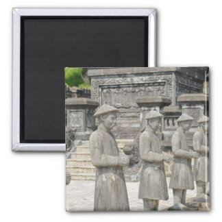 Stone Tomb Statues Square Magnet