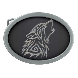 Stone tribal wolf belt buckle