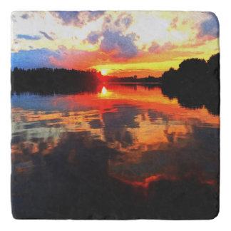 Stone trivet abstract sunset lake art