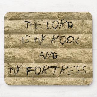 stone wall graffiti... The Lord is my rock Mousepads