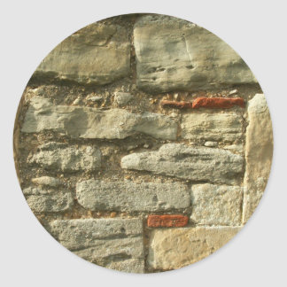 Stone Wall Image. Classic Round Sticker