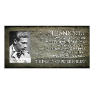 Stone wall Photo Frame Sympathy Thank You P 1H Customized Photo Card