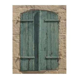 Stone Wall Window Antique Blue Shutters Wood Canvas