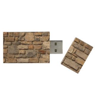 Stone Wall Wood USB 2.0 Flash Drive