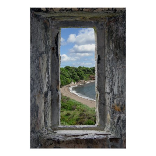 Stone Window framing a Beach and Trees Poster