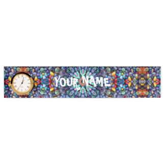 Stone Wonder Desk Nameplate with Clock
