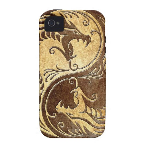 Stone Yin Yang Dragons Vibe iPhone 4 Cases