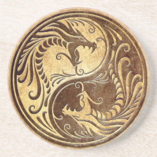 Stone Yin Yang Dragons Coaster