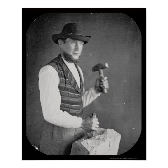 Stonecutter Holding Mallet Daguerreotype 1850 Poster