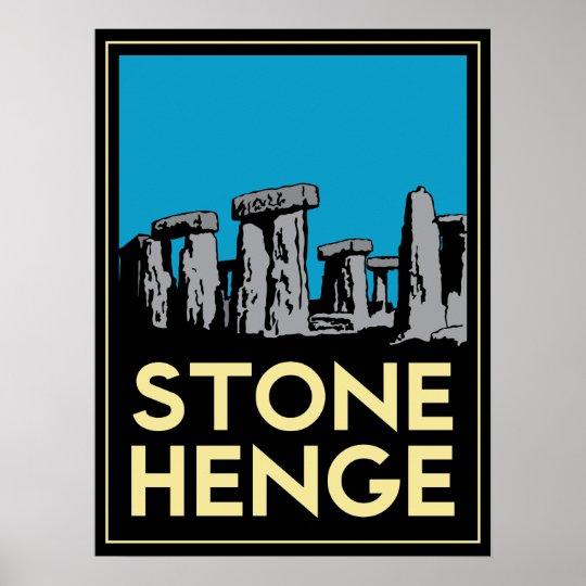 Stonehenge art deco travel poster