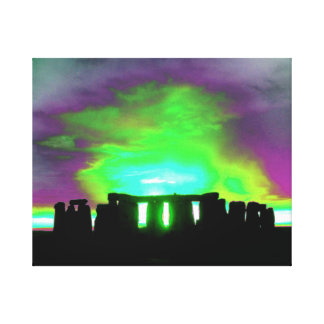 Stonehenge Aurora Wrapped Canvas