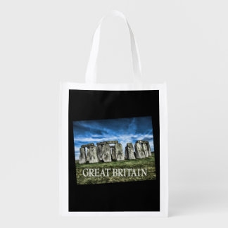 Stonehenge England TEXT Great Britain Reusable Grocery Bag