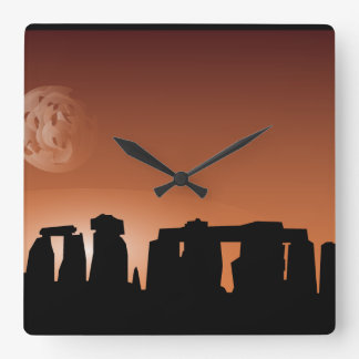 Stonehenge historic site sunset clock