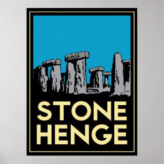 stonehenge stone henge art deco retro poster