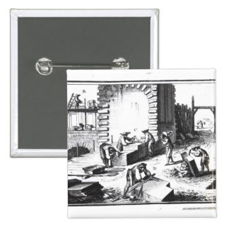 Stonemasons at work, engraved by Lucotte 2 Inch Square Button