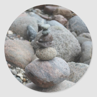 Stones at the Baltic Sea, stacked, stone balance Classic Round Sticker