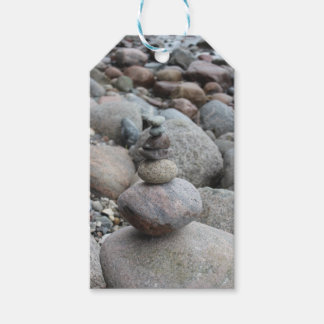 Stones at the Baltic Sea, stacked, stone balance Gift Tags