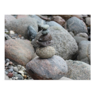 Stones at the Baltic Sea, stacked, stone balance Postcard