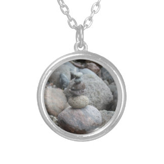Stones at the Baltic Sea, stacked, stone balance Silver Plated Necklace