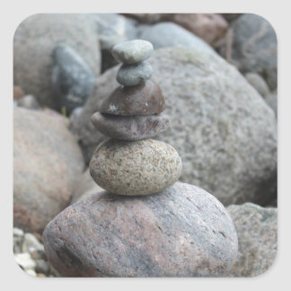 Stones at the Baltic Sea, stacked, stone balance Square Sticker
