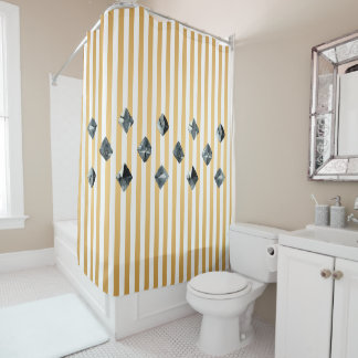Stones Gold Stripes Illustration Shower Curtain