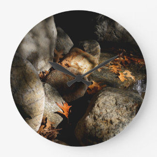 Stones, Maple Leaves, Water Large Clock