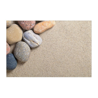 Stones On Sandy Beach Background Acrylic Print