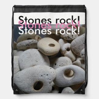 Stones rock girly stylish design beach drawstring bag