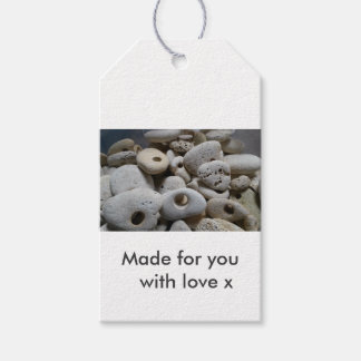 Stones with holes. Made for you with love Gift Tags