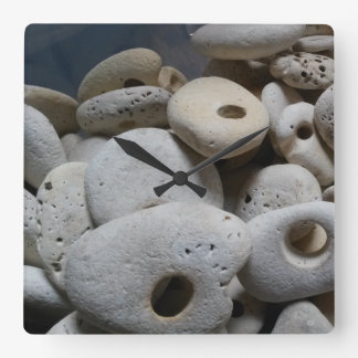 Stones with holes square modern clock