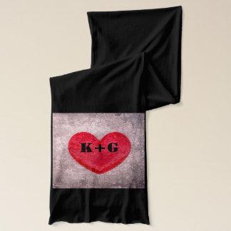Stonewashed Heart Monogram Personalize Scarf