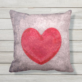 Stonewashed Heart Throw Pillow