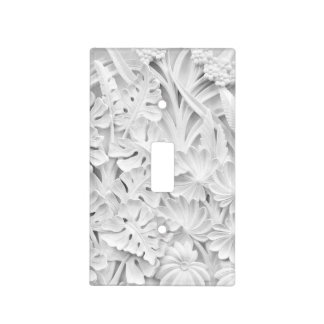 Stonework in a Leaf and Flower Motif Light Switch Cover