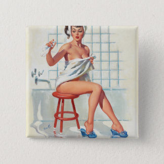 Stool pigeon sexy bathroom retro pinup girl 2 inch square button