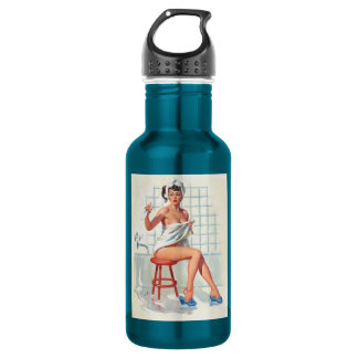 Stool pigeon sexy bathroom retro pinup girl 532 ml water bottle