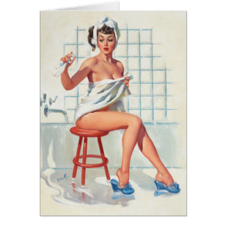 Stool pigeon sexy bathroom retro pinup girl card