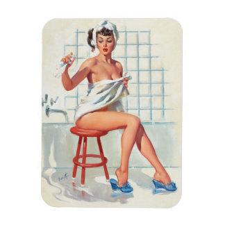 Stool pigeon sexy bathroom retro pinup girl magnet