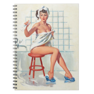 Stool pigeon sexy bathroom retro pinup girl notebooks