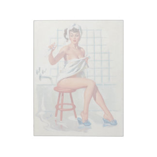 Stool pigeon sexy bathroom retro pinup girl notepad