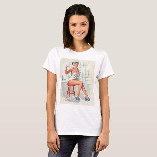 Stool pigeon sexy bathroom retro pinup girl T-Shirt