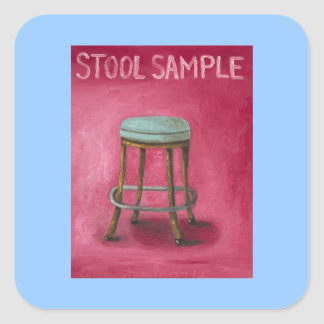 Stool Sample Square Sticker