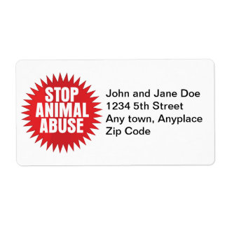 Stop Animal Abuse Shipping Label