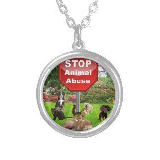 Stop Animal Abuse Silver Plated Necklace