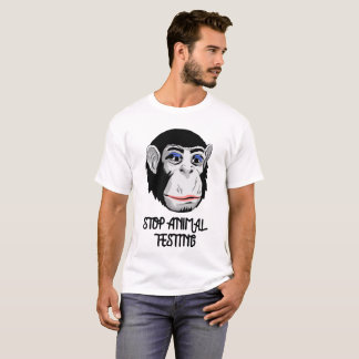 """STOP ANIMAL TESTING"" Animal lovers Eco Monkey Tee"