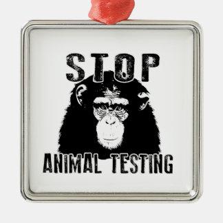 Stop Animal Testing - Chimpanzee Metal Ornament