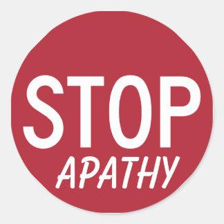 STOP APATHY ROUND STICKER