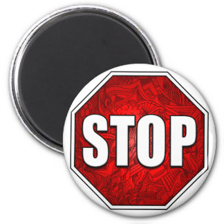 STOP! Bright Bold Red Stop Sign Zen Art/Design 2 Inch Round Magnet