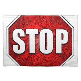 STOP! Bright Bold Red Stop Sign Zen Art/Design Place Mat