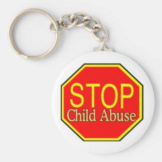 Stop Child Abuse Basic Round Button Keychain